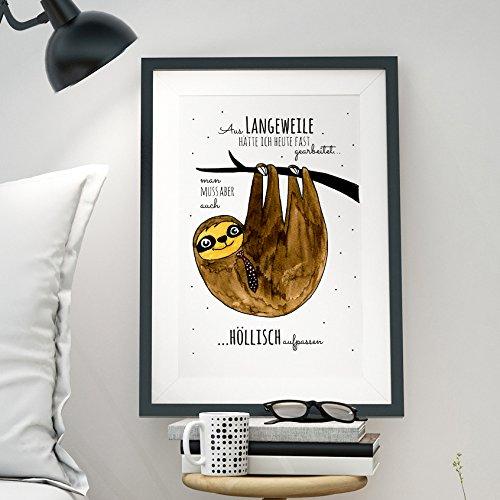faultier poster ilka parey wandtattoo-welt A3 Print Illustration Poster Faultier mit Spruch Aus Langeweile hätte ich heut fast gearbeitet… p12