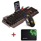 UrChoiceLtd Tastatur maus Orange Gelb LED Hintergrundbeleuchtung Usb Spiel Tastatur Mit einem Telefon Stand und Feuerzeug Stand + 2000DPI Gaming Maus Sets + Spiel-Mausunterlage für Laptop(Gold grau)