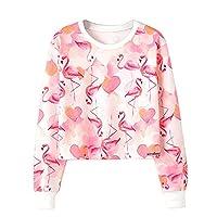 Dihoppe Women's Flamingo Print Pullover Cropped Sweatshirt Jumper Tops (S)