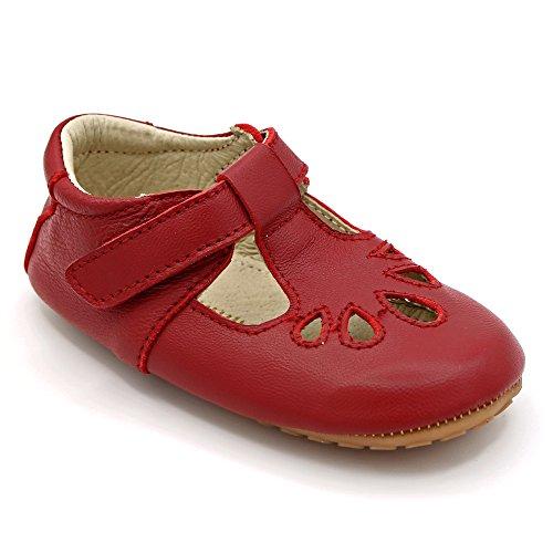 Luxueuses chaussures de bébé anglaises en cuir conçues pour les fêtes, les mariages et les occasions spéciales. pelle in bleu marine / rouge. Premiers pas, pointures 19 EU - 23 EU