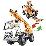 CaDA RC 2in1 LKW Kran / Abschleppwagen, Technik Baukasten, 838 Teile, 100% kompatibel mit Lego Technic