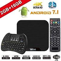 TV Box Android 7.1 - VIDEN W2 Smart TV Box Amlogic Quad Core, 2GB RAM & 16GB ROM, 4K*2K UHD H.265, HDMI, USB*2, 2.4GHz WiFi, Web TV Box, Android Set-Top Box, + 2 en 1 Ratón y Teclado