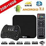 TV Box Android 7.1 - VIDEN W2 Smart TV Box Amlogic S905X Quad Core, 2GB RAM & 16GB ROM, 4K*2K UHD H.265, HDMI, WiFi Media Player, Android Set-Top Box, Mini Teclado Inalámbrico [Versión Mejorada]