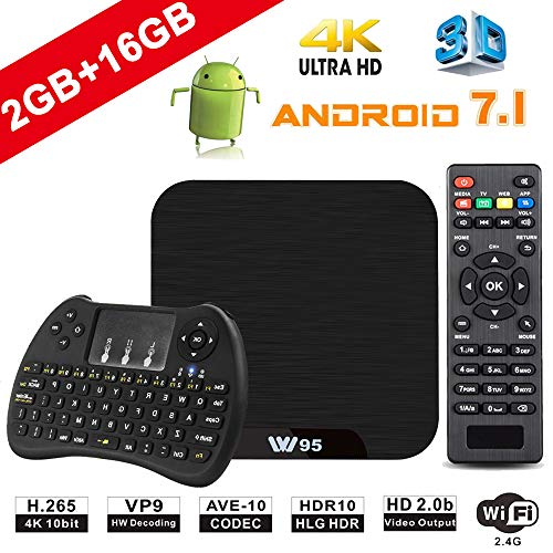 TV Box Android 7.1 - VIDEN W2 Smart TV Box [2018 Ultima Generazione] Amlogic S905W Quad-Core, 2GB RAM & 16GB ROM, Video 4K UHD H.265, 2 Porte USB, HDMI, WiFi Web TV Box, + Mini Tastiera