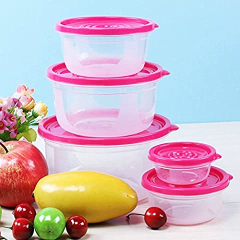 Plastiknahrung Crisper Mikrowelle Ofen-Box 5 Sets Crisper Lunch Box Nahrungsmittelbehälter