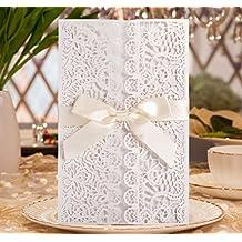 Hochzeit EinladungsKarten Glückwunsch Einladung Karten , 20 Stück DIKETE  Elegante Blume Spitze 4 In 1 [