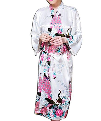 KAXIDY Robe de Nuit Robe de Chambre Femme Vêtements de Nuit et Peignoirs Pyjama Peignoir Blanc