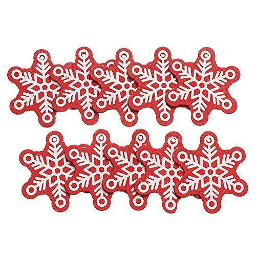 Fedaog 10pcs Party Schneeflocken Home Hirsch Der Weihnachtsbaum hängt DIY Holz Chip Weihnachtsschmuck und -schmuck Natürliche Anhänger(Snowflake,red)