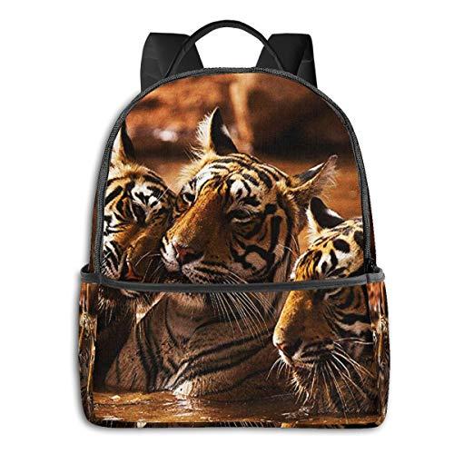 Zaino Scuola Casual, Uomo Donne Rucksack Zaino per Borsa Da Viaggio per Scuola Ragazze Ragazzo Zaini Scuola Superiore Elementare Tiger Family