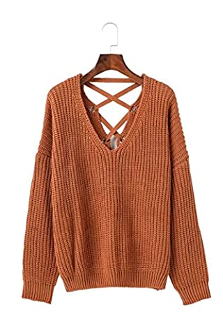 CHLXI Straps Women's Wear Sweaters,Brown-OneSize