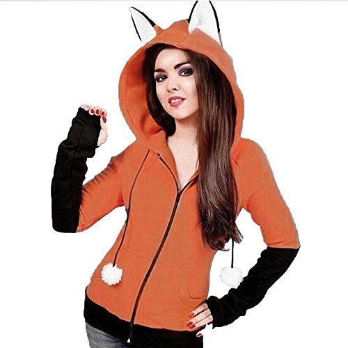 Rosennie Damen Mädchen Sweatshirts Mit Kapuze Strickjacke Reißverschluss Lange Ärmel Fuchs Ohren Wintermantel Dicker Fleece Pullover Tops Kapuzenpullover Jacke Outwear (M, Orange) (Kapuzen-fleece Orange)