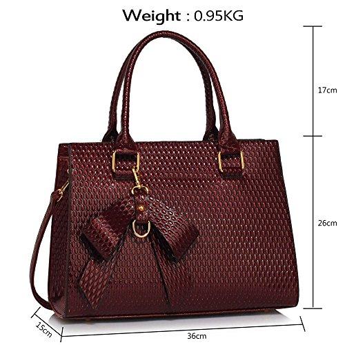 TrendStar Damen Qualität Patents Greifer Frauen Modedesignerin Schulterhandtaschen A - Burgund
