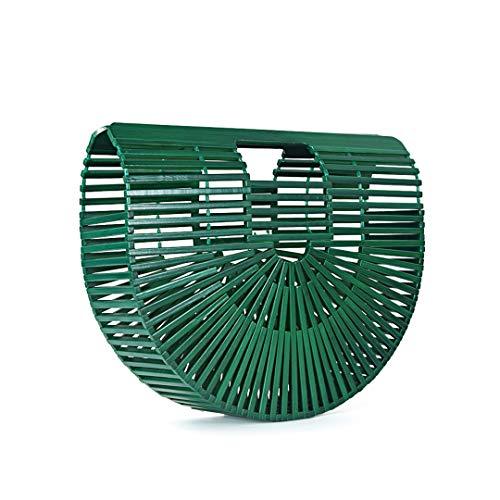 Frauen Handtasche Weibliche Große Reise Urlaub Totes Bambus Handtasche Für Damen Handgemachte Gewebte Stroh Strandtasche Green S 28cm
