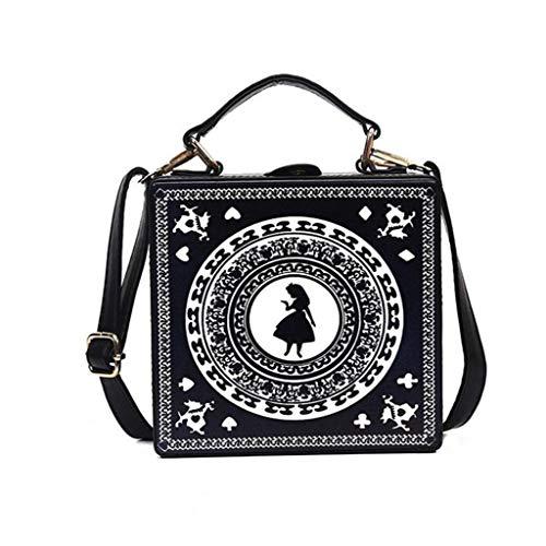 MYYDD Damen-Tasche, Mädchen niedliche Schwester Alice Spielen Karten Silhouette Litte Schultertasche, Crossbody Tasche Handtasche kleine Box-Handtasche