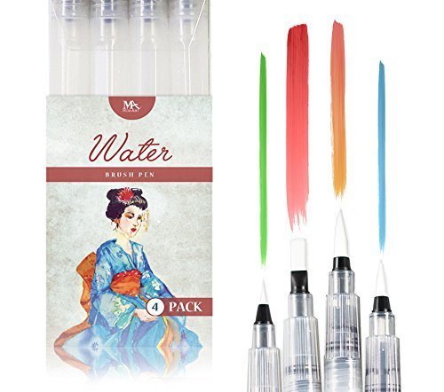 Water Brush Pens - Set of 4 Brush Tips - Great for Watercolour Paints, Water Soluble Pencils, Brush Pen, Markers - Refillable Brush Pens - Aqua Pen, Art Brushes - MozArt Supplies