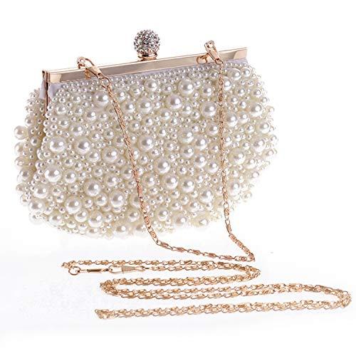 Perlen Clutch Handtasche (Syrads Abendtasche Damen mit Perle Braut Tasche Clutch Handtasche Umhängetasche Party Hochzeit Bankett Handtasche 777)