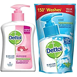 Dettol Liquid Handwash (Skincare) - 200 ml with Free Liquid Handwash - 175 ml (Any Variant)