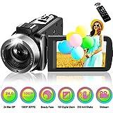 Videocamera Digitale Full HD 1080p 30FPS Videocamera con Fotocamera digitale 24MP 18x Zoom digitale 3 '' IPS 270 Gradi Schermo con rotazione Videocamera con telecomando e funzione di pausa