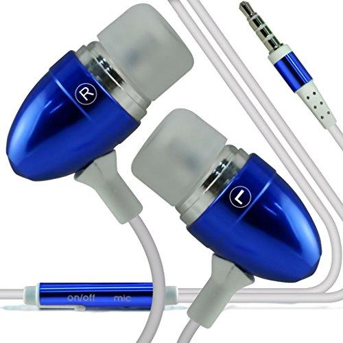 (Blau + Kopfhörer) Fall für HTC 10 Fallabdeckungsbeutel Qualitäts-Thin-Leder Holdit Federklammer Clip ONP Mappenkasten-Abdeckung Haut mit Kredit- / Debitkarte Slots mit Premium-Qualität in Earbuds Stereo-Freisprecheinrichtung Kopfhörer-Kopfhörer mit eingebautem Mikro Telefon Mic und On-Off-Taste HTC 10 Fall von i-Tronixs (Htc-telefon-kasten Mit Clip)