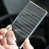 Palette con separatore per ciglia 2 in 1, in vetro trasparente, per ciglia finte e colla, supporto per estensioni di ciglia, 10x 5x 1cm