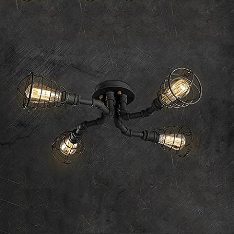 BAYCHEER Deckleuchte Industrielampe 6 Lampenfassung 65cm Retro Kupfer Semi Flush Deckenlampe Kronleuchte Pendellampe (4 Lampen)