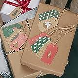 Ginger Ray Weihnachten Gemusterten Geschenk / Gepäck Schlagwörter x 10 mit Schnur - Weihnachten Muster