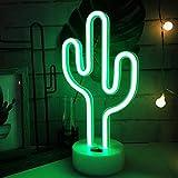 Cactus Neon Light Décoration de bébé, lumière de nuit, Cactus Lampes pour enfants Chambre à coucher salle de fête d'anniversaire, enfants, salon de jardin, cadeau de fête de mariage (Cacuts-battery + USB)