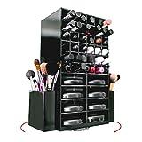 Drehbarer Acryl Makeup Organizer Halter fuer Lippenstifte Buersten & Puder Kompakte Produkte, durchsichtige Box fuer Kosmetika