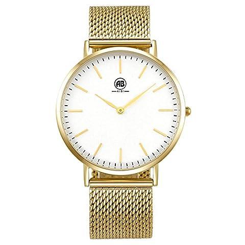 DMwatch Or Acier Inoxydable Bracelets de Montre Blanche Affichage Analogique Quartz Watches 3ATM Imperméable à l'eau Montre Pour Hommes