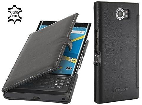 StilGut Book Type, housse en cuir avec fonction Smart Cover pour BlackBerry PRIV, en noir nappa