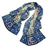 Prettystern P889 - 160cm Malerei Kunstdruck Schal Jugendstil Gustav Klimt Seidenschal- Fregio_Stoclet (blau) …