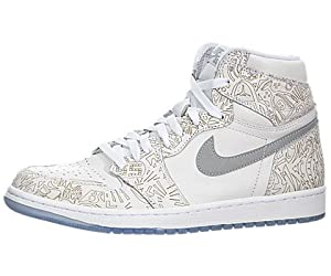 Nike Herren Air Jordan 1 Retro HI OG Laser Turnschuhe, Mehrfarbig-Multicolore-Blanco / Plateado (White/Metallic Silver), 42 1/2 EU