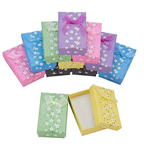 NBEADS Schmuckkästchen Aus Karton, Blumenmuster, Für Ringgeschenke, 8-8,2 X 5-5,2 X 2,6 cm, 24 Stück