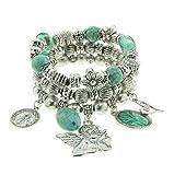Charm Armband mit blauen Perlen und verschiedenen Anhängern - Elegantes Schmuck