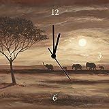 Artland Analoge Wand-Funk-oder Quarz-Uhr Digital-Druck Leinwand auf Holz-Rahmen gespannt mit Motiv Andres Afrikanische braune Landschaft - Elefanten Landschaften Afrika Malerei Braun A3LK