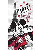 Jerry Fabrics 226128 Mickey and Minnie in Paris Handtuch, Baumwolle, weiß / grau / rot, 140 x 70 cm