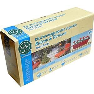 *GAMM VERT* Kit d'Arrosage Goutte à goutte - Balcon et terrasse - Pour 12 pots - Se raccorde au robinet et peut se connecter à un programmateur - GAMM-BALCON