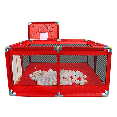 Red Playpen -baby Shooting Fence, Toddler Twins Safety Game Playard, Children Security Fence with Basketball Hoop (Size : Playpen)  BSNOWF
