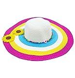 Strohhut mit Sonnenblumen 'Big Flower' - Damen Hut zum Hippie Kostüm, für Party und Strand