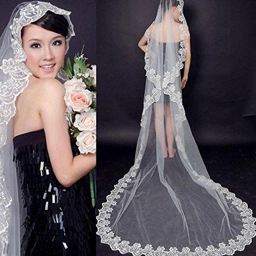 Pixnor T630 3M bella lunga finali fiore bianco pizzo Decor sposa velo Mantilla (bianco)
