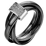 JewelryWe Schmuck 3mm Breite Schwarz Keramik Damen-Ring mit Silber Metall & Zirkonia Trizyklische Verlobungsring Hochzeit Band Größe 57