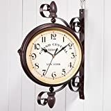 Ailiebhaus Relojes de Doble Cara Antiguo de Estilo Europeo jardín estación de Reloj de Pared Exterior