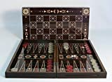 19 in. Floral Wooden Backgammon Set with Chessboard by World Wise Imports