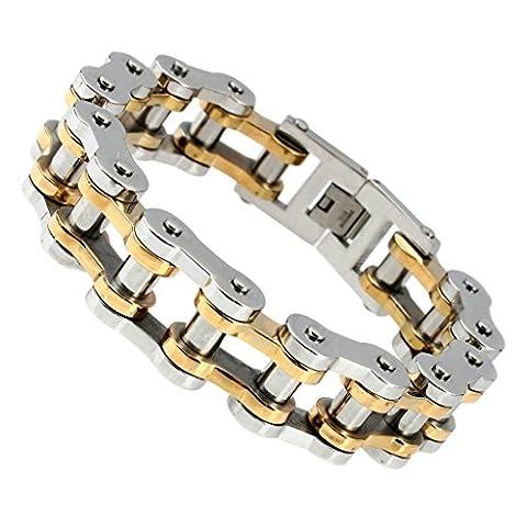 Beydodo Stainless Steel Men Bracelet Bicycle Link, Massive Biker Chain, Gold Silver, 23.5*1.9CM,