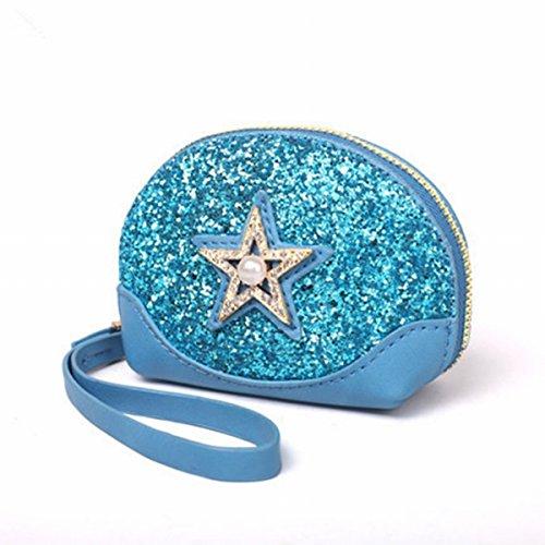 brieftasche mode Mini pailletten Sterne Muscheln tasche handtasche handtasche Hellblau