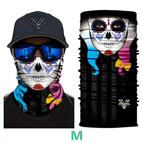 ZYTC 3D Schädel Gesichtsschild Maske Motorradfahren Gesichtsschutz Winddicht Stirnband Nahtlose...