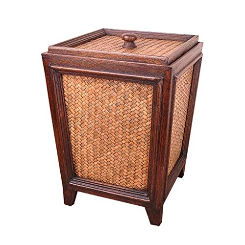 Liangzishop Küchen Abfalleimer Vintage Rattan Woven Papierkorb Große Kapazität mit Deckel Wohnzimmer Küche Startseite Kreative Holz Mülleimer Abfallsammler (60 Kuchen-deckel Gold)