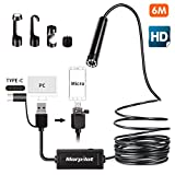 morpilot 3 in 1 USB Endoscope Camera, 16.4FT HD Borescope Inspection Camera 2.0 Megapixels Snake Camera for Android Smartphone,Tablet Type-c/Micro/USB Available