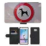 Grand Phone Cases PU LEDER LEATHER FLIP CASE COVER HÜLLE ETUI TASCHE SCHALE // M00141082 Registrieren Dog Leech Silhouette // Samsung Galaxy S6 (Not Fits S6 EDGE)