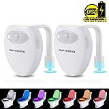 Toilettenlicht mit Bewegungssensor, SUPTEMPO Wiederaufladbare WC Nachtlicht Mehrfarbige LED Toilette Licht Lampe, Packung mit 2 Stück